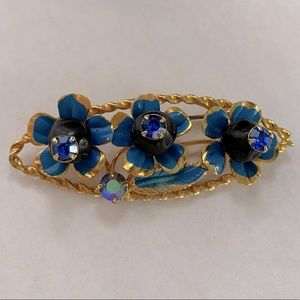 Exquisite Vintage Austrian Signed Blue Brooch Pin